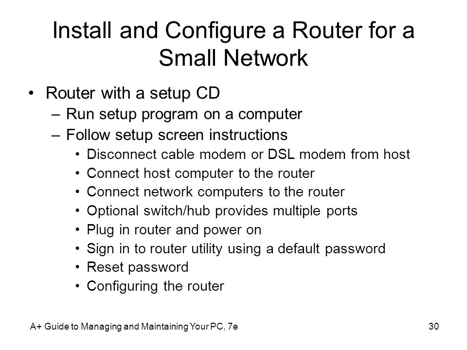 Install and Configure a Router for a Small Network