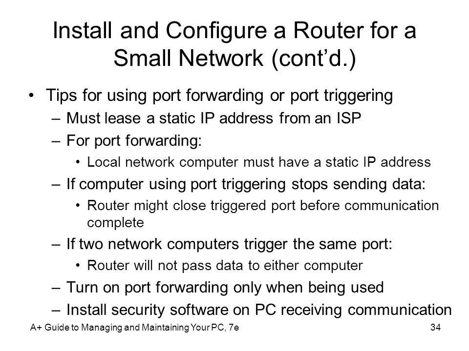 Install and Configure a Router for a Small Network (cont'd.)