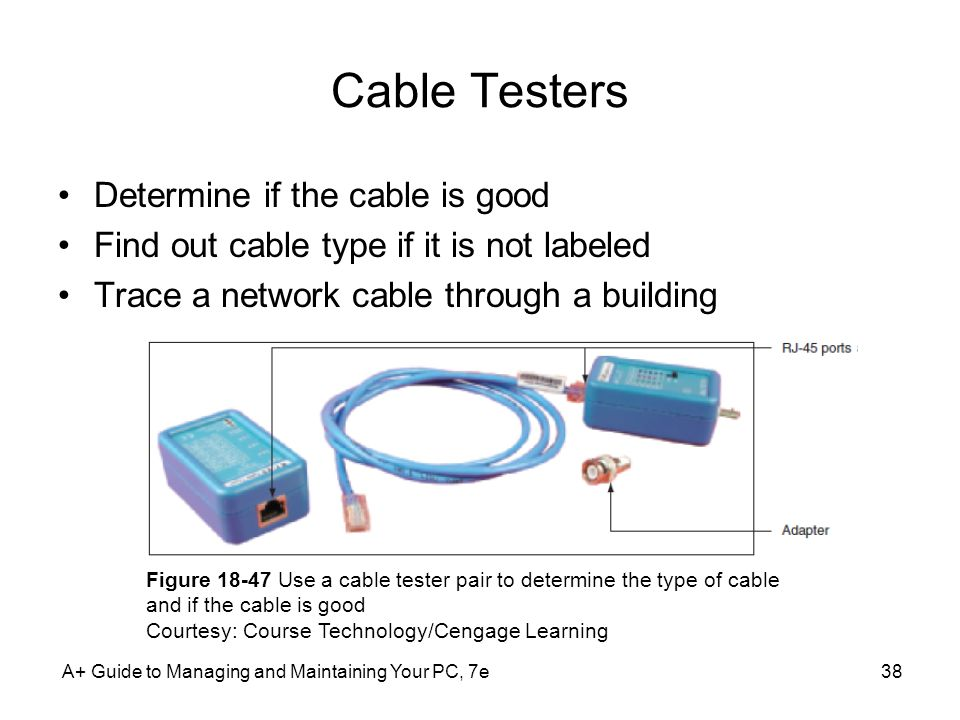 Cable Testers Determine if the cable is good