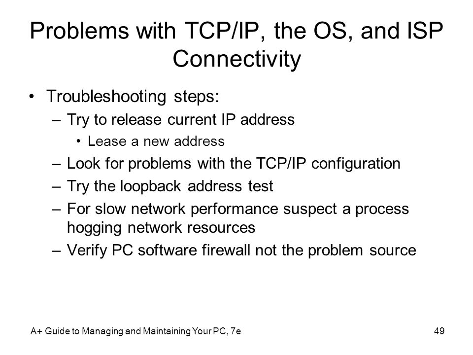 Problems with TCP/IP, the OS, and ISP Connectivity