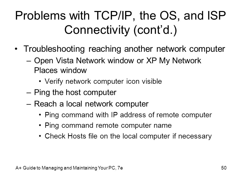 Problems with TCP/IP, the OS, and ISP Connectivity (cont'd.)