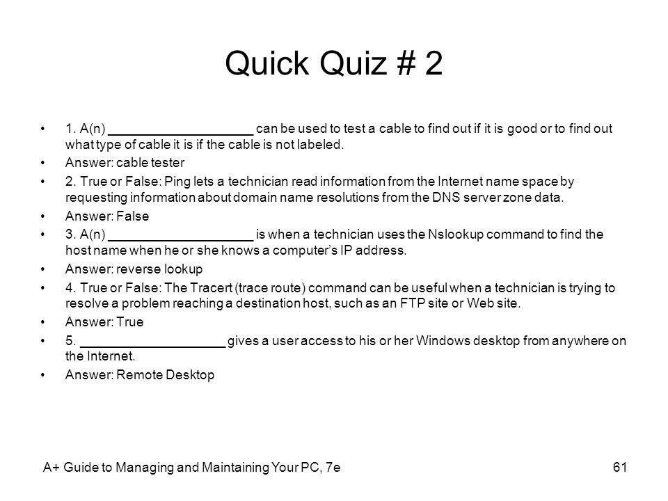 Quick Quiz # 2