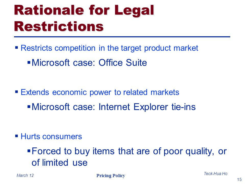 Rationale for Legal Restrictions