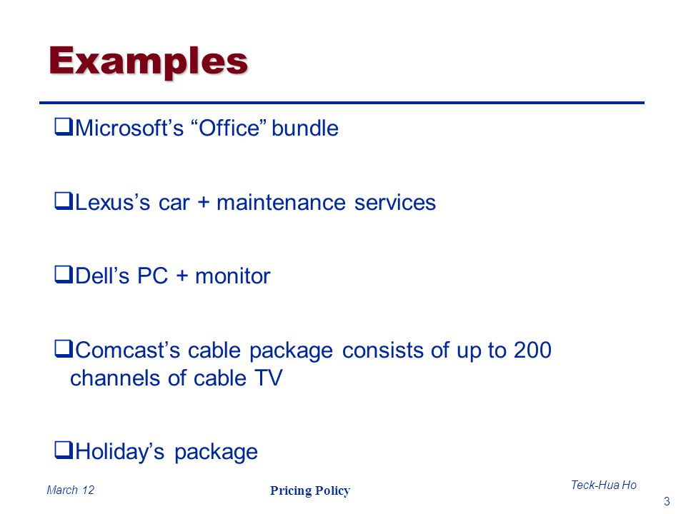 Examples Microsoft's Office bundle