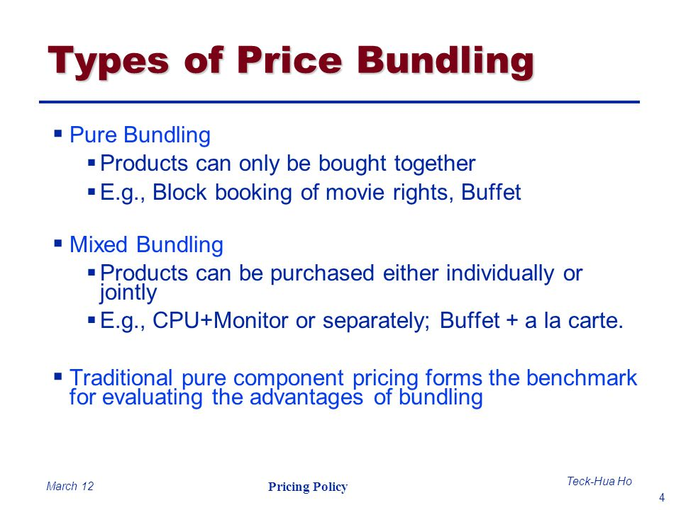 Types of Price Bundling