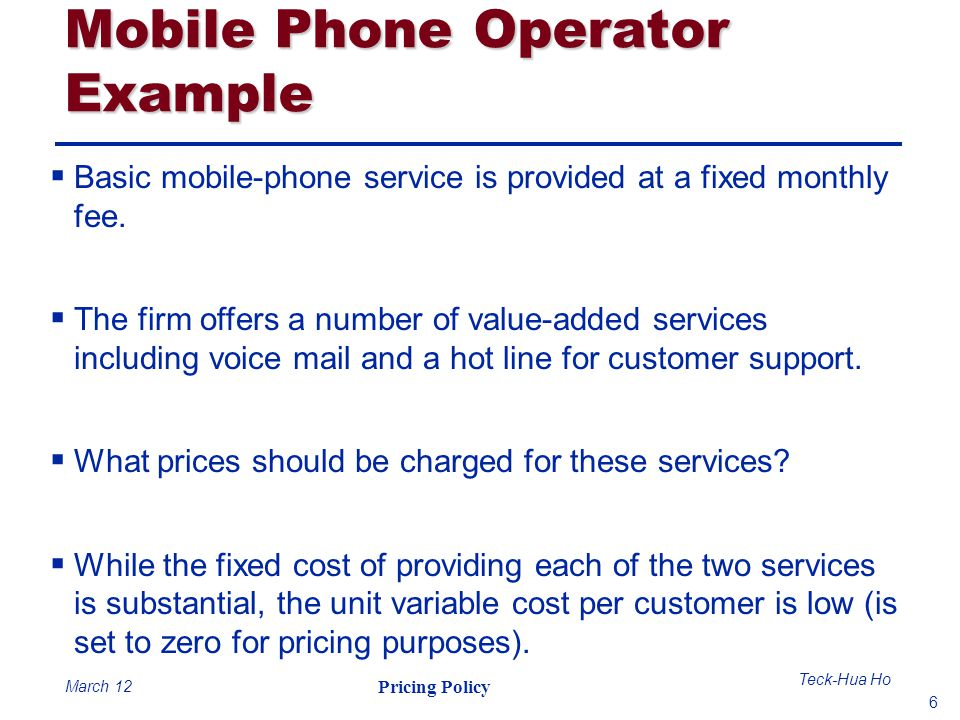 Mobile Phone Operator Example