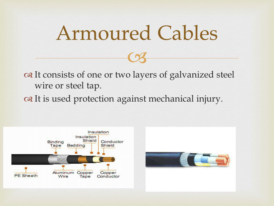 Armoured Cables It consists of one or two layers of galvanized steel wire or steel tap.