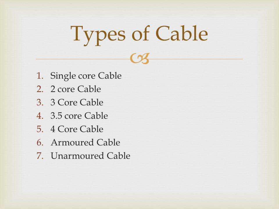 Types of Cable Single core Cable 2 core Cable 3 Core Cable