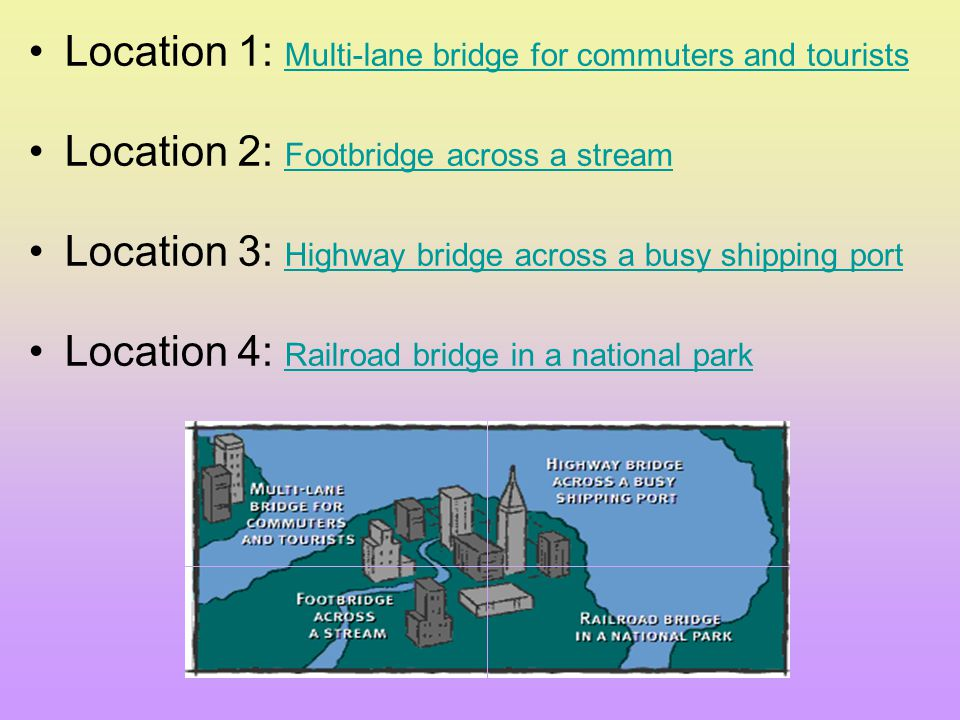 Location 1: Multi-lane bridge for commuters and tourists