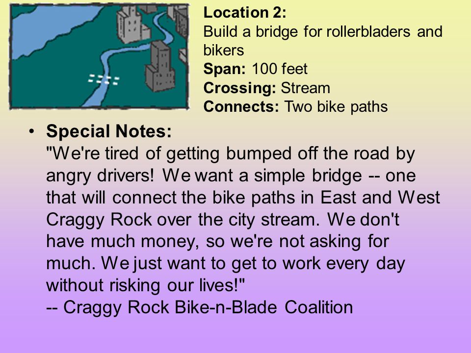 Location 2: Build a bridge for rollerbladers and bikers Span: 100 feet Crossing: Stream Connects: Two bike paths