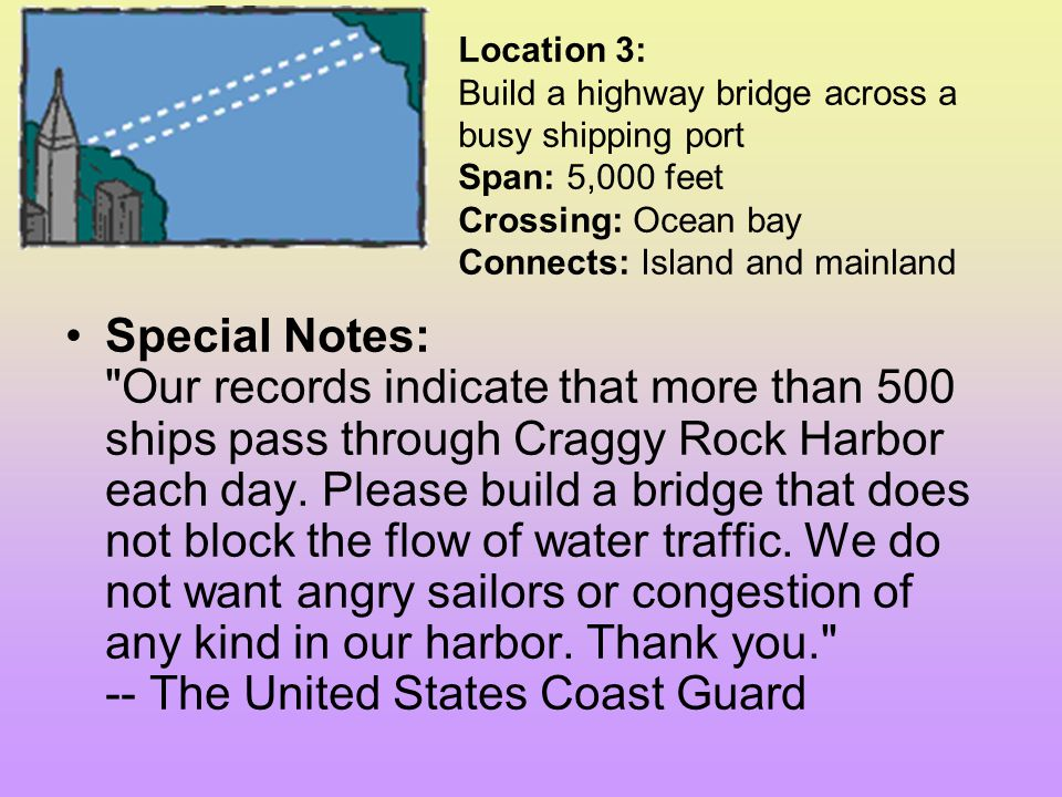Location 3: Build a highway bridge across a busy shipping port Span: 5,000 feet Crossing: Ocean bay Connects: Island and mainland