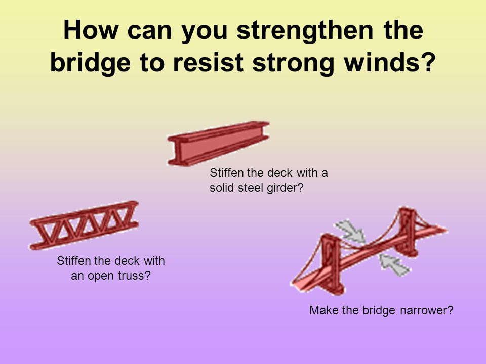 How can you strengthen the bridge to resist strong winds