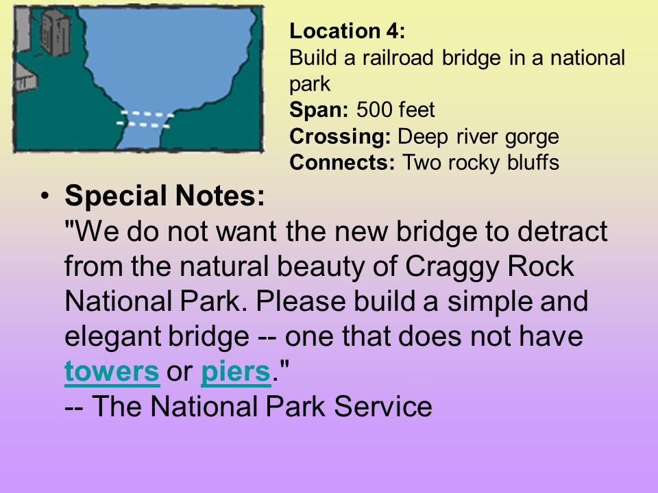 Location 4: Build a railroad bridge in a national park Span: 500 feet Crossing: Deep river gorge Connects: Two rocky bluffs