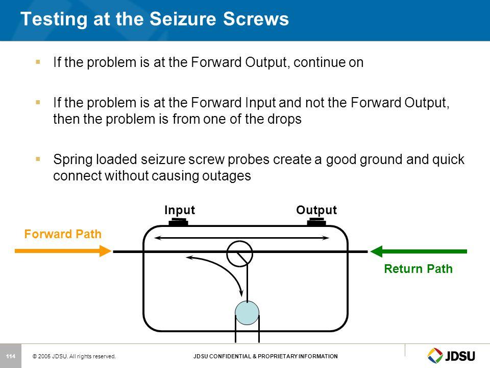 Testing at the Seizure Screws