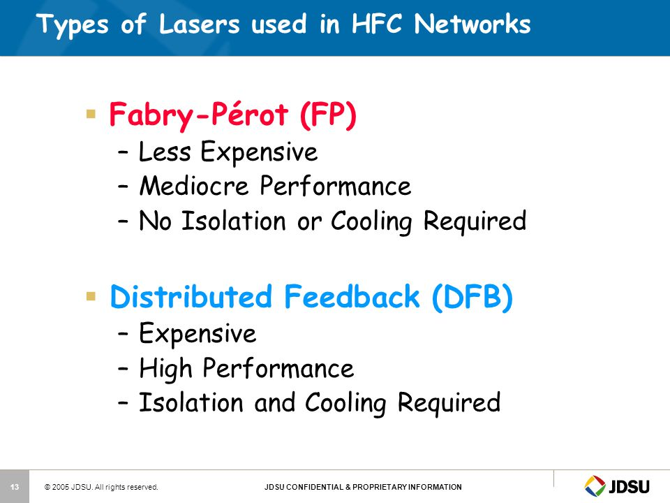 Types of Lasers used in HFC Networks