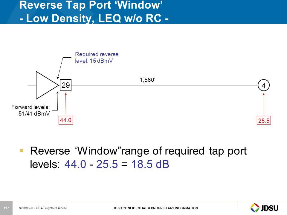 Reverse Tap Port 'Window' - Low Density, LEQ w/o RC -