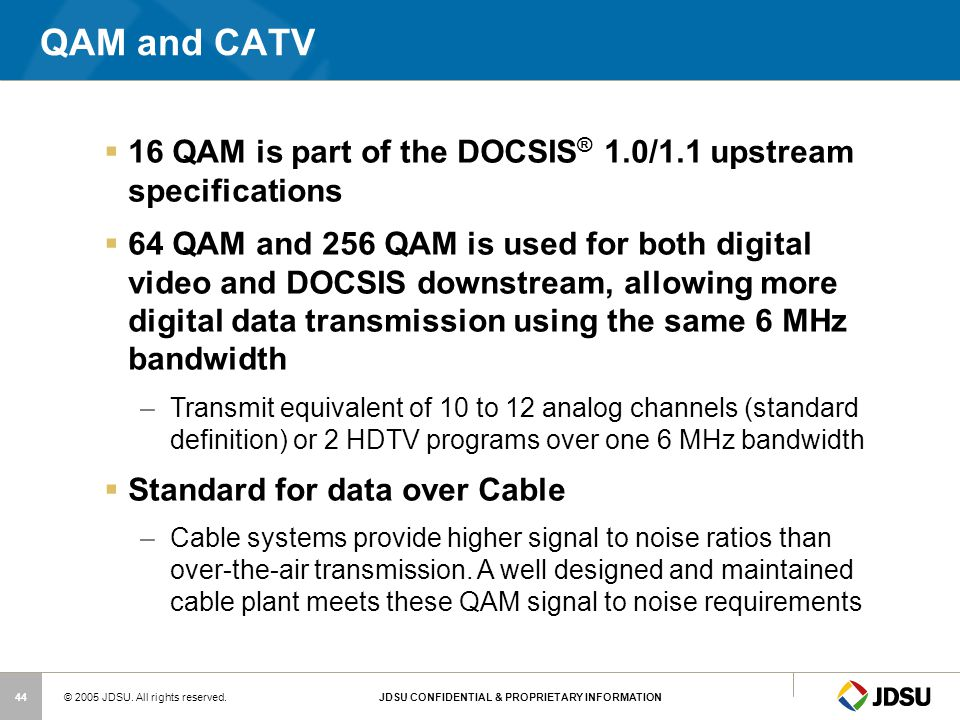 QAM and CATV 16 QAM is part of the DOCSIS® 1.0/1.1 upstream specifications.