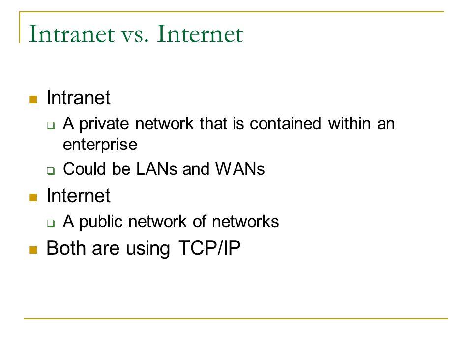 Intranet vs. Internet Intranet Internet Both are using TCP/IP