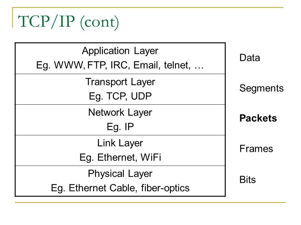TCP/IP (cont) Application Layer Eg. WWW, FTP, IRC, Email, telnet, …