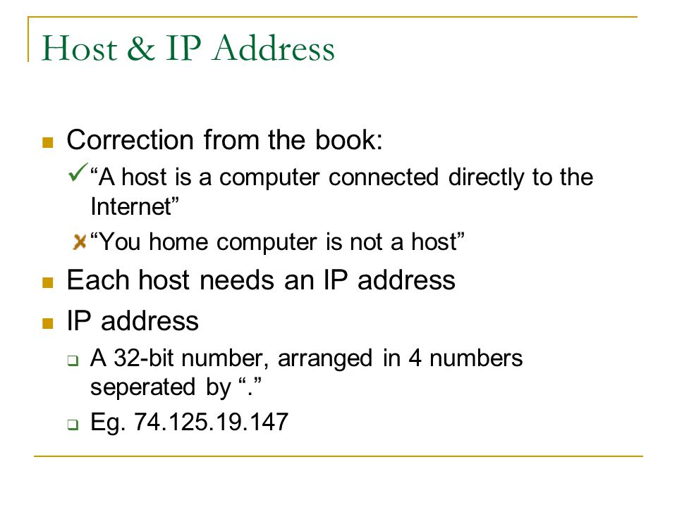 Host & IP Address Correction from the book:
