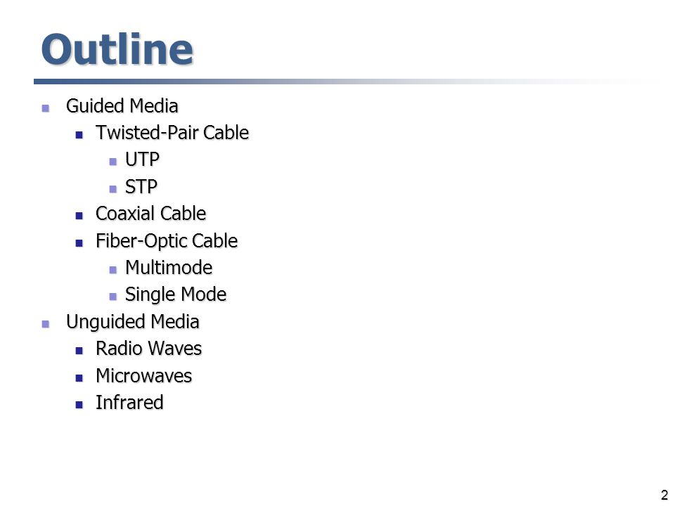 Outline Guided Media Twisted-Pair Cable UTP STP Coaxial Cable