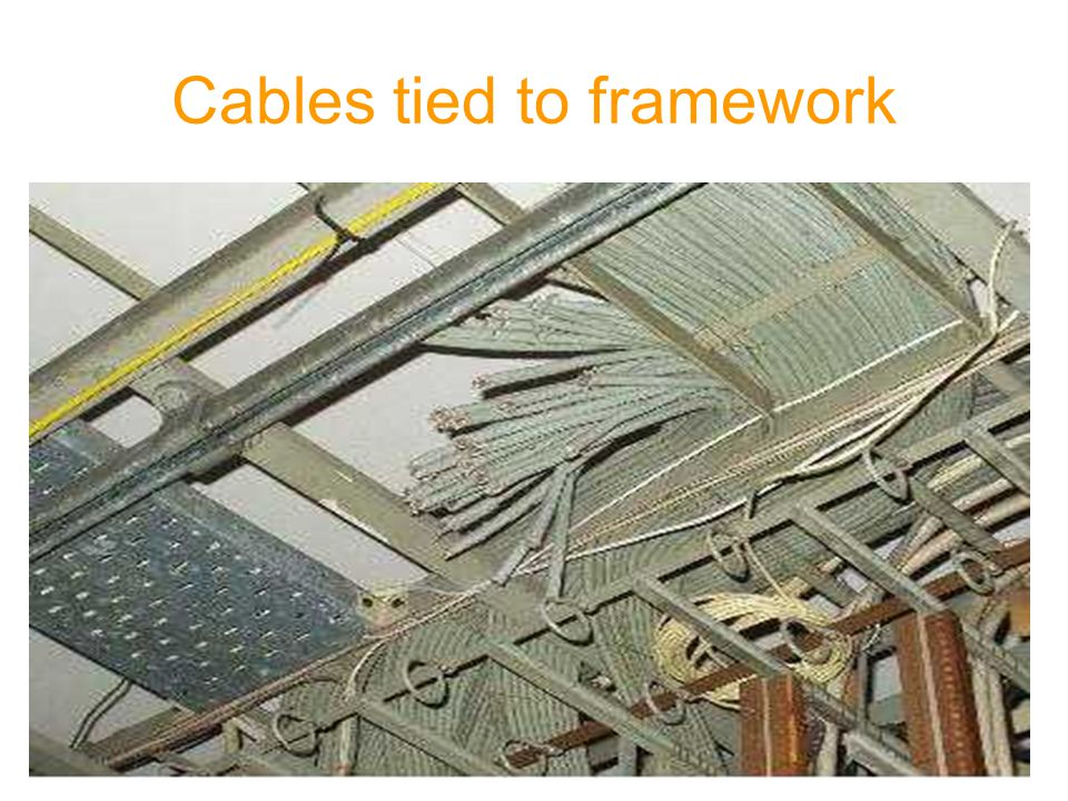 Cables tied to framework