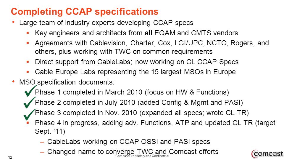 Completing CCAP specifications