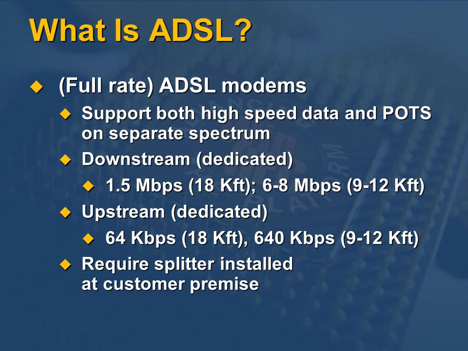 What Is ADSL (Full rate) ADSL modems