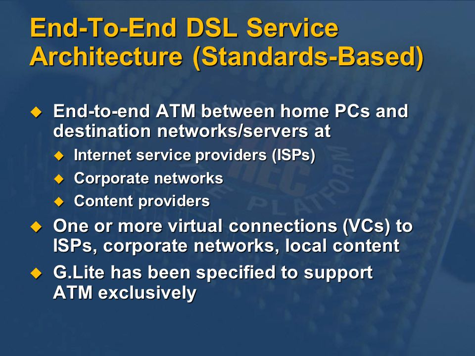 End-To-End DSL Service Architecture (Standards-Based)
