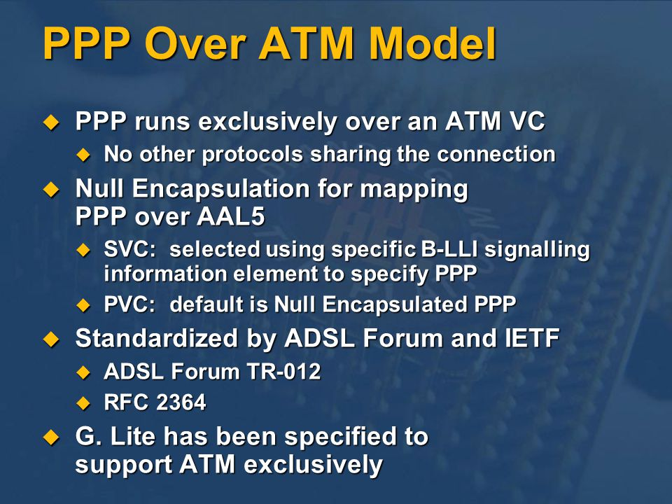 PPP Over ATM Model PPP runs exclusively over an ATM VC