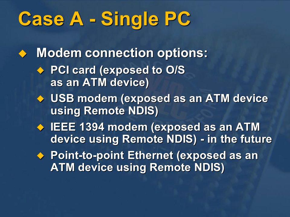 Case A - Single PC Modem connection options: