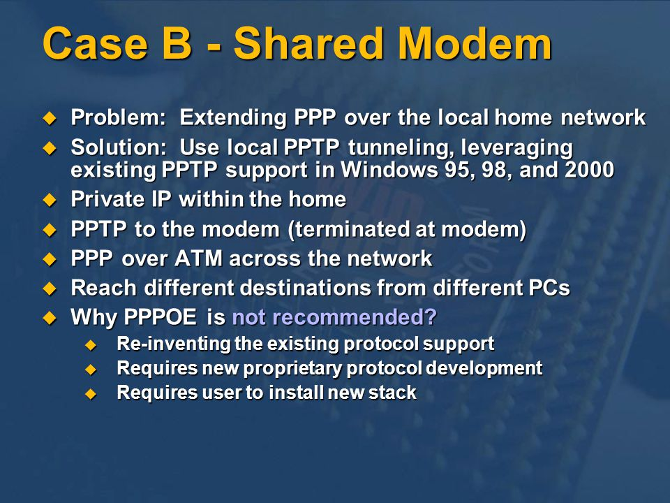 Case B - Shared Modem Problem: Extending PPP over the local home network.