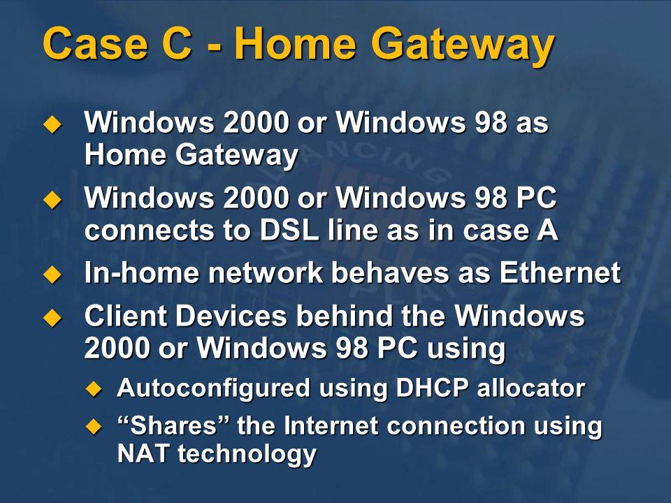 Case C - Home Gateway Windows 2000 or Windows 98 as Home Gateway