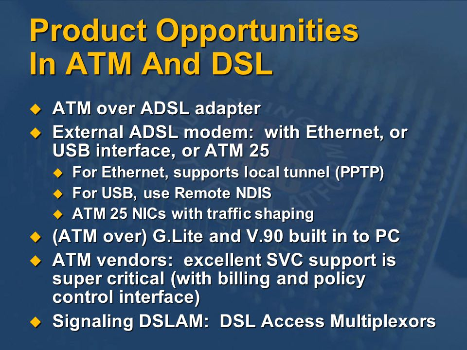 Product Opportunities In ATM And DSL