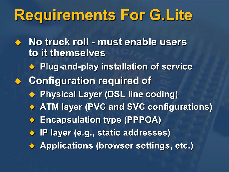 Requirements For G.Lite