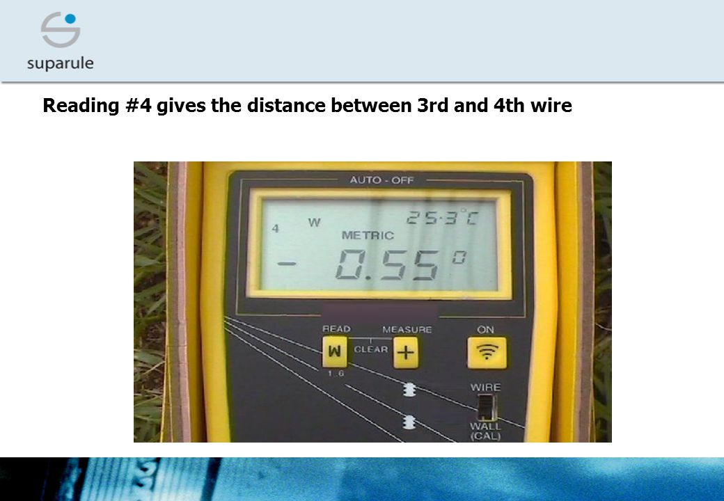 Reading #4 gives the distance between 3rd and 4th wire