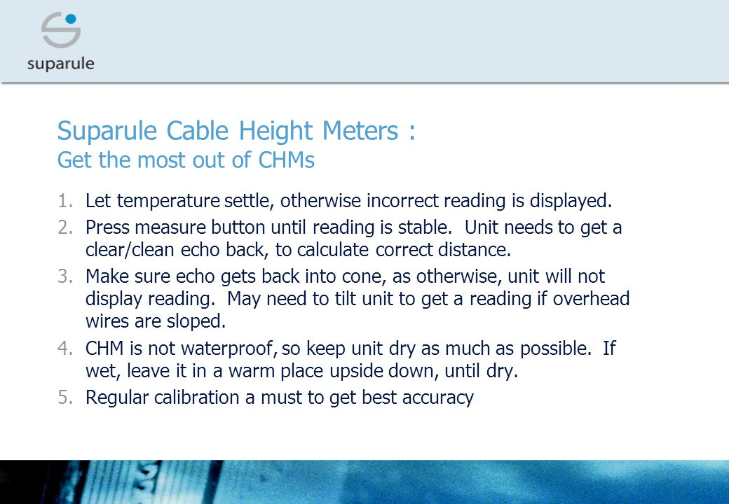 Suparule Cable Height Meters : Get the most out of CHMs