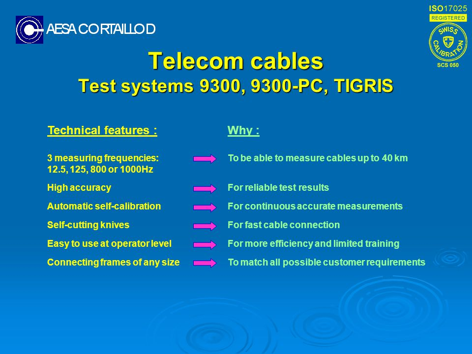 Telecom cables Test systems 9300, 9300-PC, TIGRIS