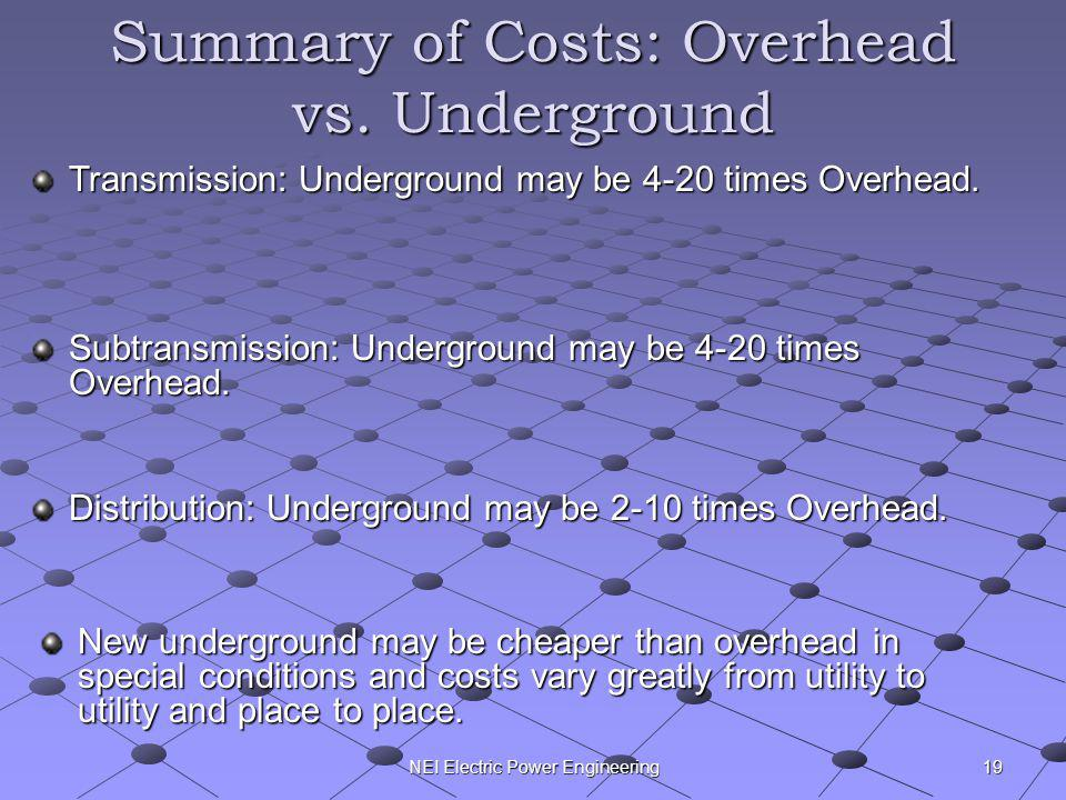 Summary of Costs: Overhead vs. Underground
