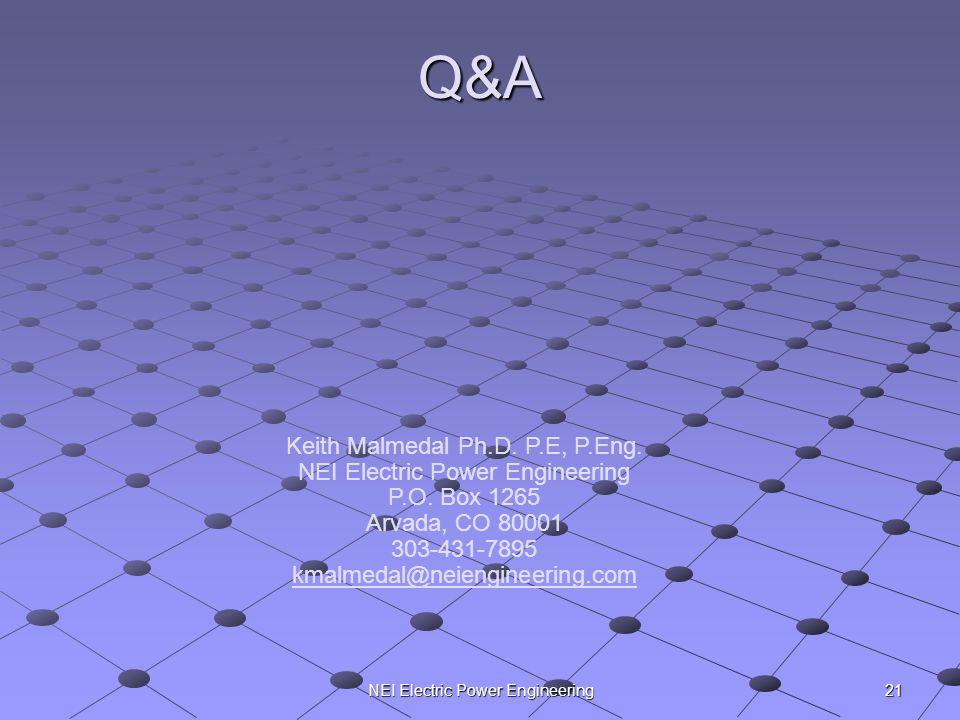 Q&A Keith Malmedal Ph.D. P.E, P.Eng. NEI Electric Power Engineering
