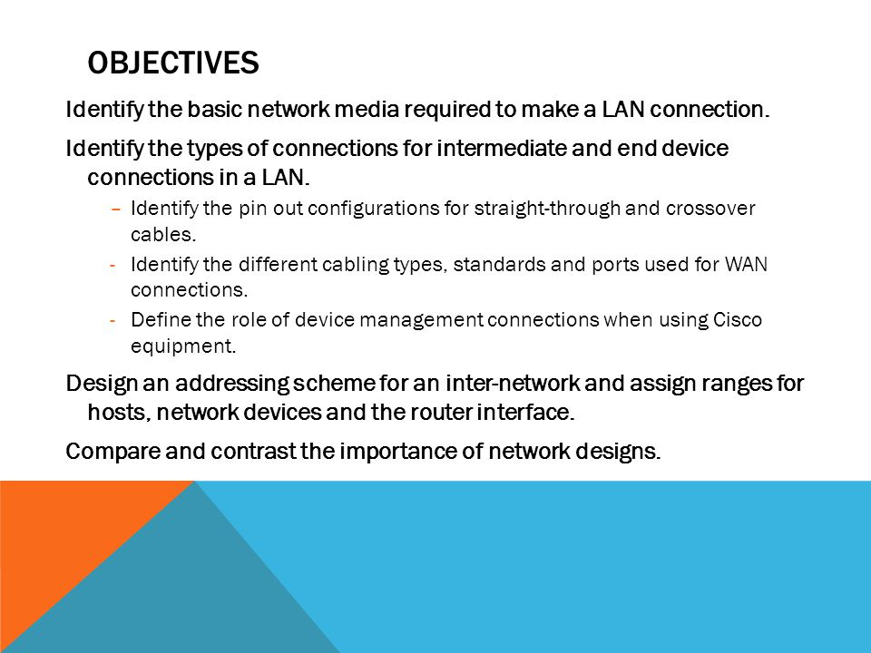 Objectives Identify the basic network media required to make a LAN connection.
