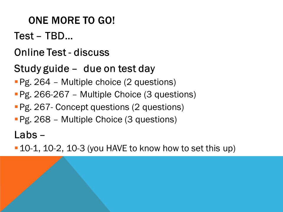 Study guide – due on test day