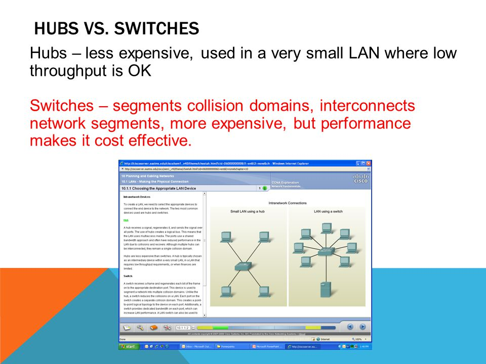 Hubs vs. switches Hubs – less expensive, used in a very small LAN where low throughput is OK.