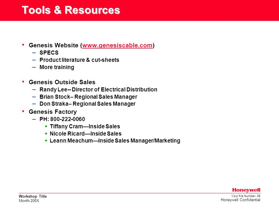 Tools & Resources Genesis Website (www.genesiscable.com)