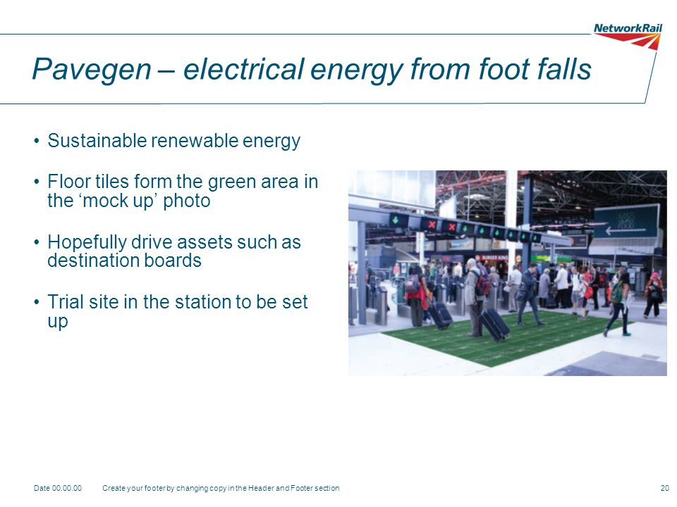 Pavegen – electrical energy from foot falls