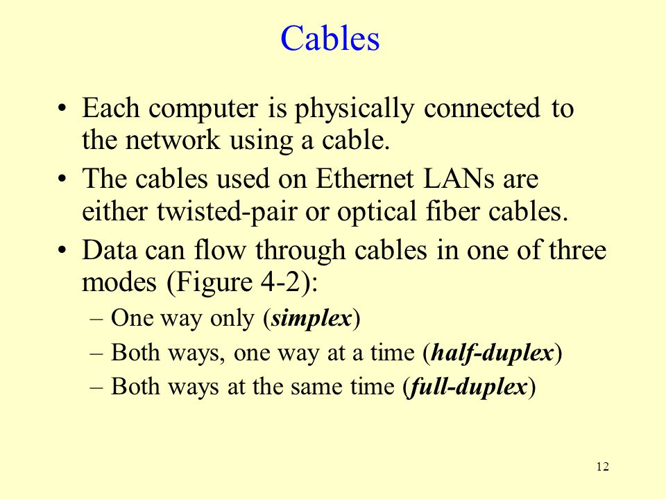 Cables Each computer is physically connected to the network using a cable.