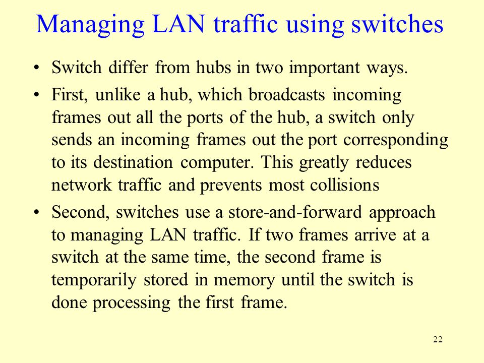 Managing LAN traffic using switches