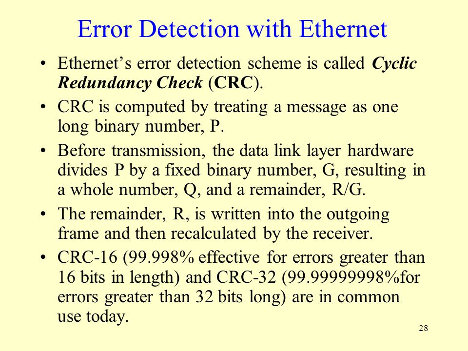 Error Detection with Ethernet