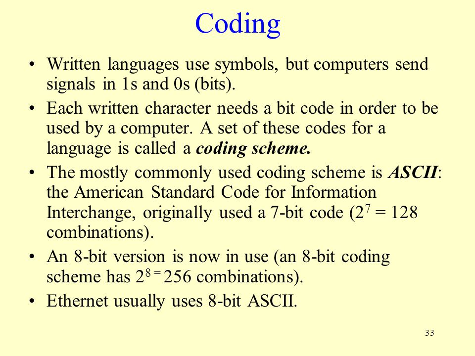 Coding Written languages use symbols, but computers send signals in 1s and 0s (bits).