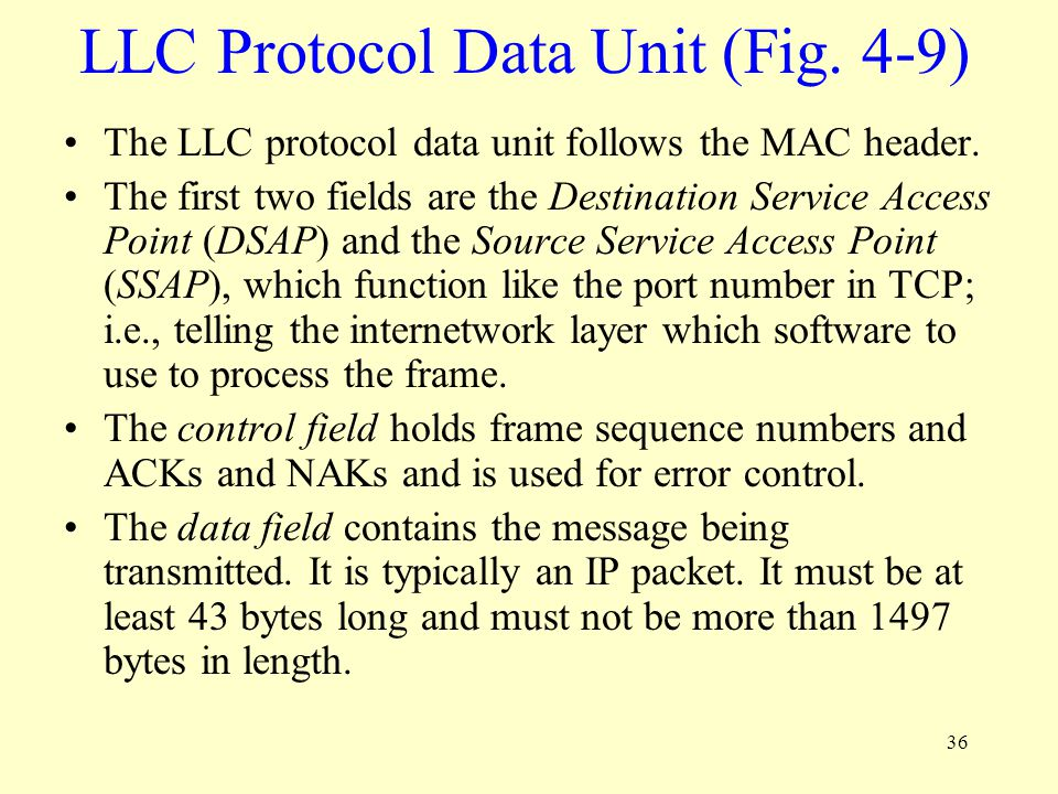 LLC Protocol Data Unit (Fig. 4-9)